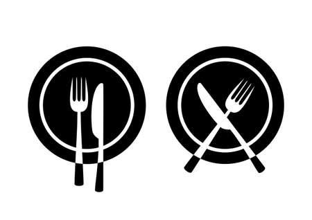Cutlery on black plate Vector