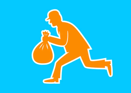 thug: Orange thief icon on blue background