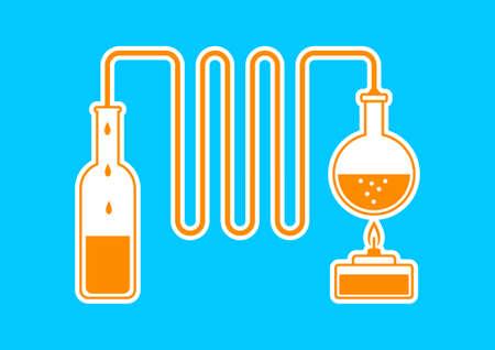 destilacion: Kit de Orange destilación sobre fondo azul Vectores