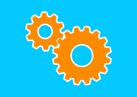 interlock: Orange industrial icon on blue background