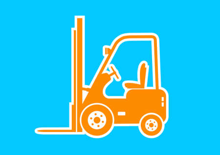 forklift truck: Orange forklift truck on blue background