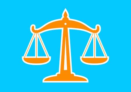 equilibrium: Orange scale icon on blue background
