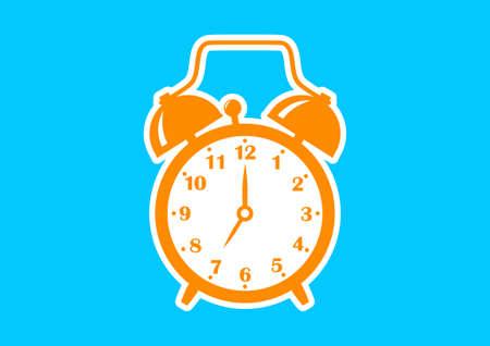 alarmclock: Orange alarm clock icon on blue background