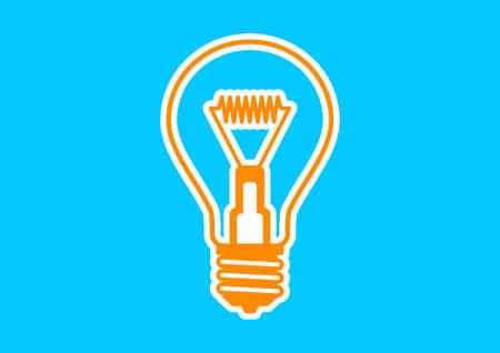 watt: Orange light bulb icon on blue background