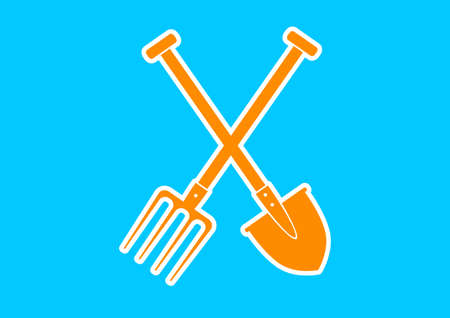 pitchfork: Orange spade and pitchfork on blue background