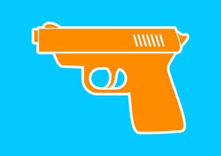 hand gun: Orange gun icon on blue background