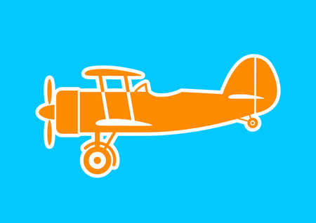 Orange aircraft icon on blue background Vector