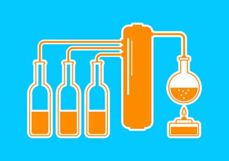 destilacion: Kit de Orange destilaci�n sobre fondo azul Vectores