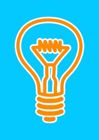 light bulb icon: Orange light bulb icon on blue background