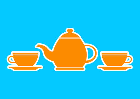 non alcoholic beverage: Orange teapot and teacup on blue background Illustration