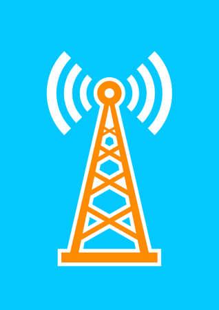 radio mast: Orange transmitter icon on blue background Illustration