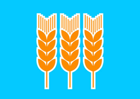 corn stalk: Orange cereal icon on blue background Illustration