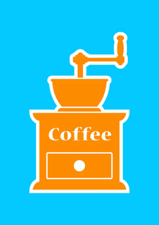macinino caffè: Arancione macinino da caff� su sfondo blu
