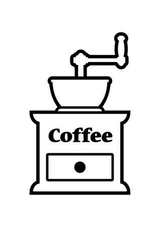 macinino caffè: Icona Coffee grinder su sfondo bianco
