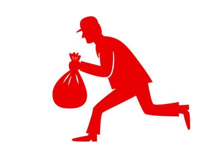 villain: Red thief icon on white background