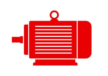 Red icône de moteur électrique sur fond blanc