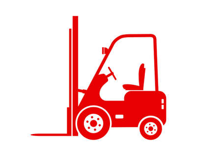 forklift truck: Red forklift truck on white background