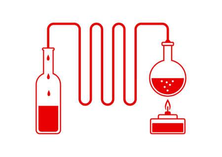 destilacion: Kit de destilación roja sobre fondo blanco
