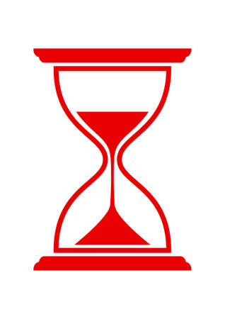 Red hourglass icon on white background Vettoriali