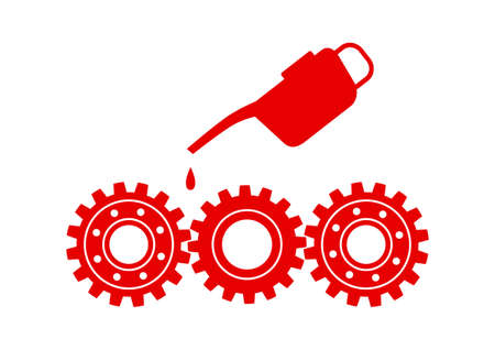 oilcan: Red industrial icon on white background Illustration