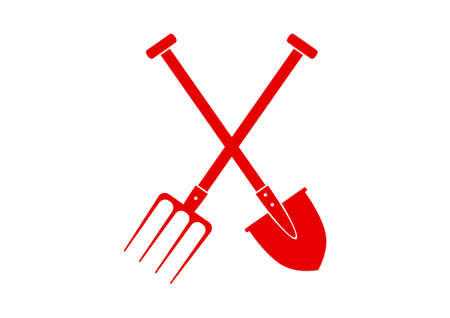 pitchfork: Red spade and pitchfork on white background