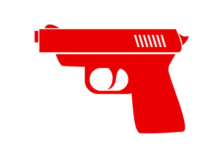 dangerous weapons: Red gun icon on white background