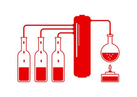 distill: Red distillation kit on white background Illustration