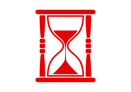 on white background: Red hourglass icon on white background Illustration