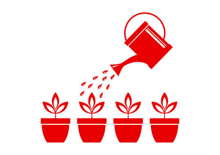 cultivating: Watering can and plants on white background Illustration