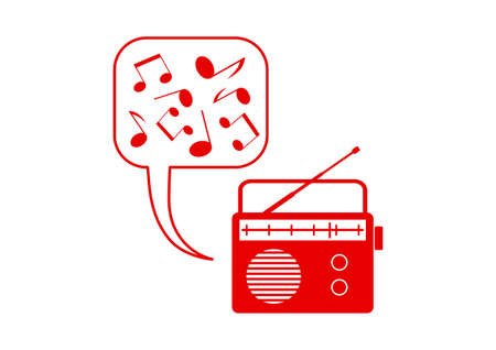 on white background: Red radio icon on white background