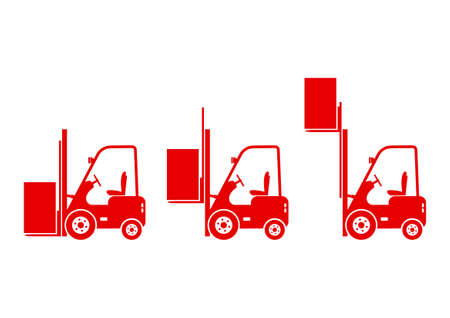 on white background: Forklift icons on white background