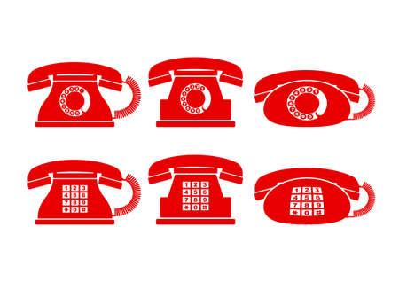 telephone icons: Telephone icons on white background