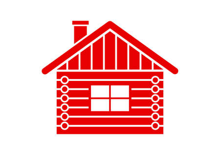log house: Log house vector icon on white background