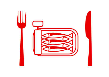 tinned: Sardines vector icon on white background Illustration