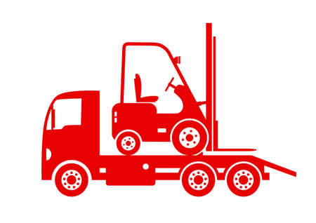 breakdown truck: Tow truck with forklift on white background Illustration