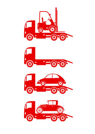 breakdown truck: Tow truck icons on white background Illustration