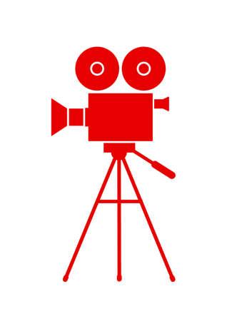 camara de cine: C�mara de pel�cula icono en el fondo blanco