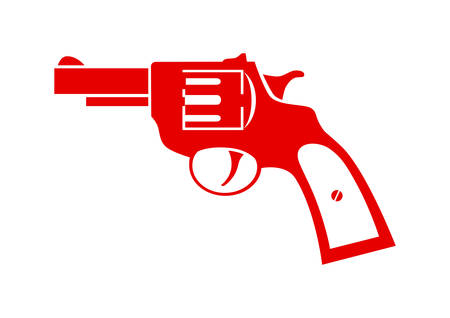 on white background: Revolver vector icon on white background