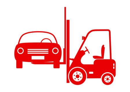 scrap metal: Forklift truck with car on white background
