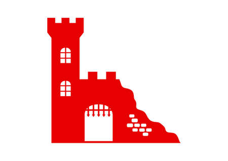 ruins: Castle ruins icon on white background