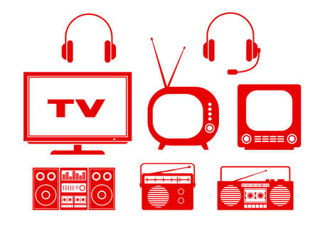 Audio and TV icons on white background Vector