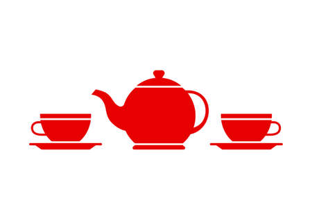 red cup: Tea icon on white background