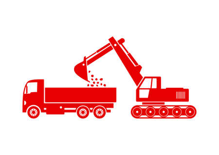 earthmover: Truck and excavator on white background
