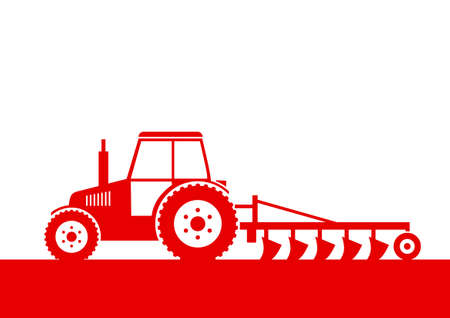 plow: Tractor icon on white background