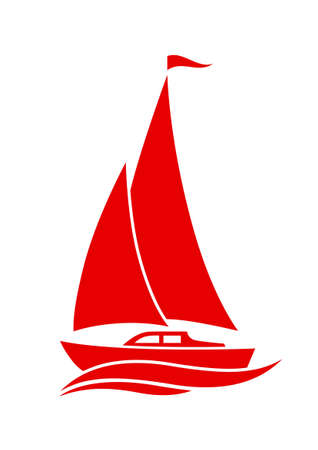 Sailboat vector icon on white background