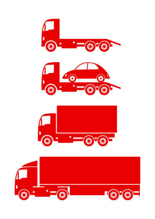 wrecker: Red truck icons on white background Illustration