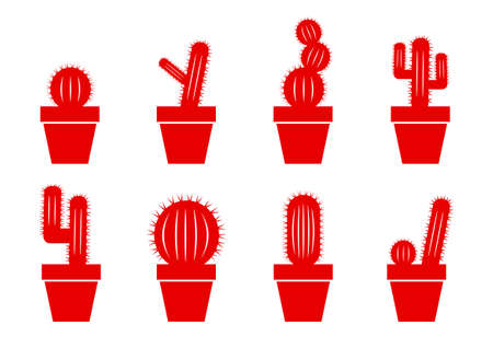 prickle: Cactus icons on white background Illustration