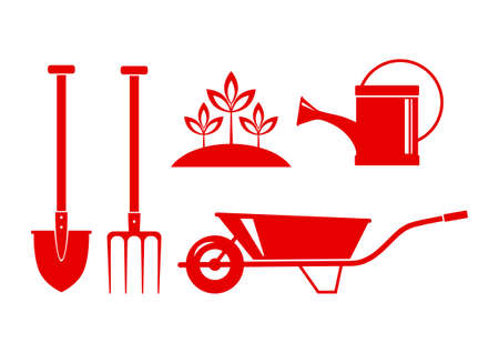 wateringcan: Red garden icons on white background Illustration
