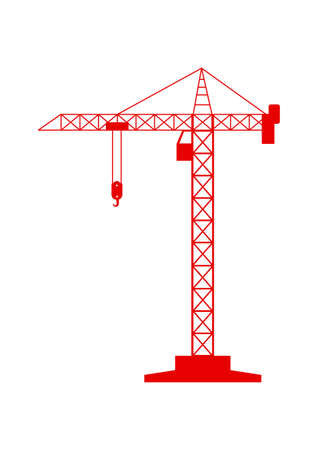 tower crane: Red tower crane icon on white background Illustration