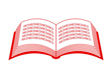 red  open: Red open book  on white background Illustration